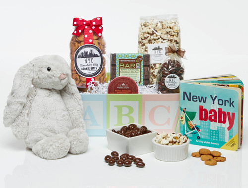 Baby Gift Basket with Bunny, treats and a book
