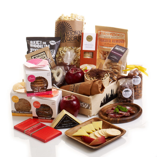 A big basket full of all of your favorite foods inspired by the Big Apple, New York City.
