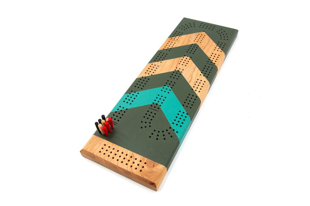Custom Painted Cribbage Board | Chevrons | Cribbage Board Gifts