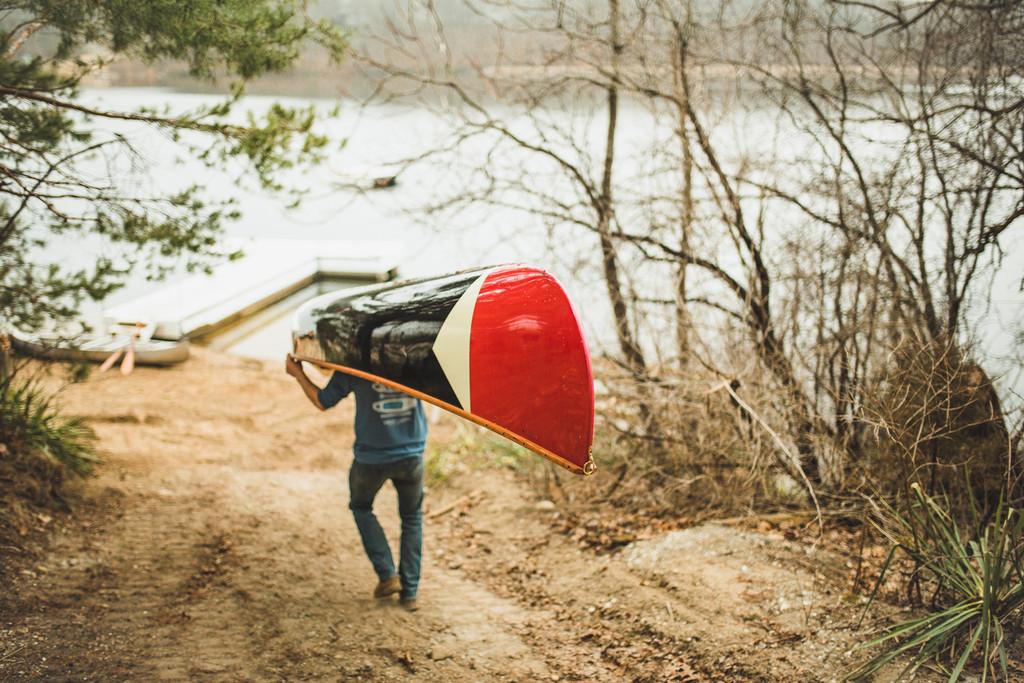 Portaging a Merrimack Canoe