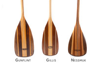 The Sanborn Canoe Co paddle family - The Gunflint, The Gillis, and the Nessmuk wooden canoe paddles.