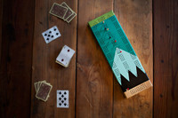 Painted Cribbage Board | Gooseberry | Mountains on Cherry Cribbage Board