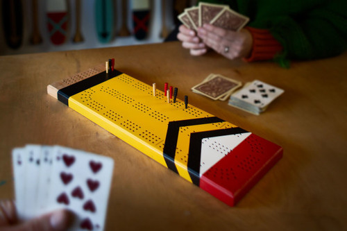 Painted Cherry Cribbage Board | Dalles Des Morts | Sanborn Canoe Company
