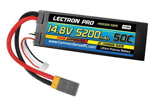 Lectron Pro 14.8V 5200mAh 50C Lipo Battery w/ XT60 Plug + CSRC adapter: Traxxas