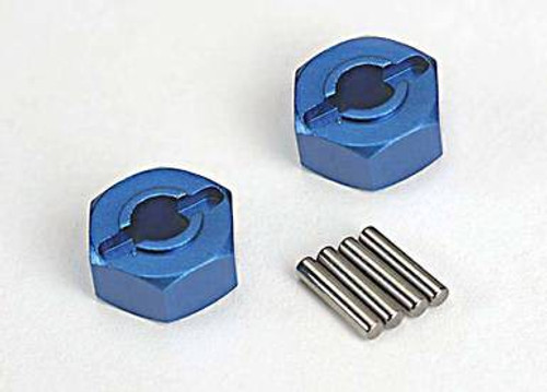 TRA1654X -- Wheel hubs, hex blue-anodized