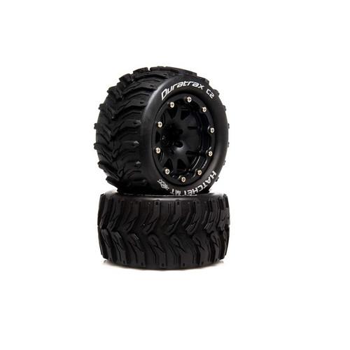 "DTXC5522 -- Hatchet MT Belted 2.8"" 2WD Mounted Rear Tires, .5 Offset, Black (2)"