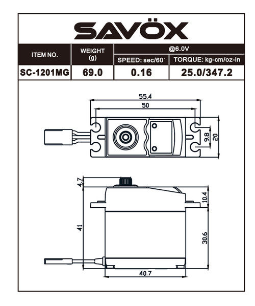 SAVSC1201MG -- Hi Torque Coreless Standard Digital Servo 0.16sec / 347oz @ 6V SAVSC1201MG