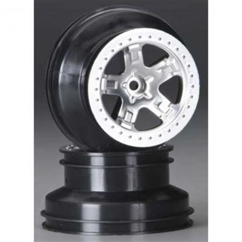 Traxxas Wheels Satin Chrome Rear Slash TRA5872