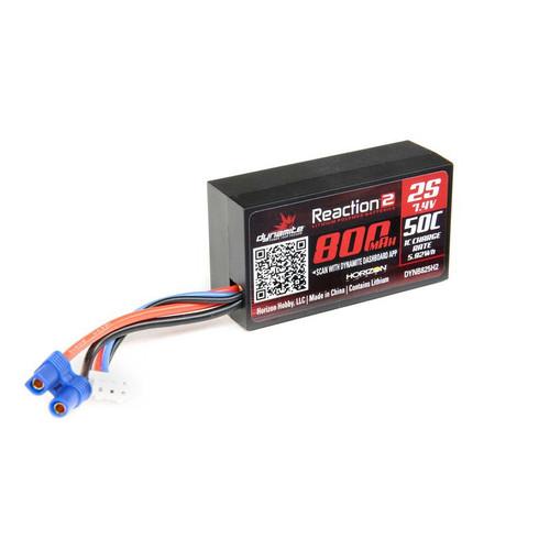 7.4V 800mAh 2S 50C Hardcase LiPo Battery EC2 DYNB825H2