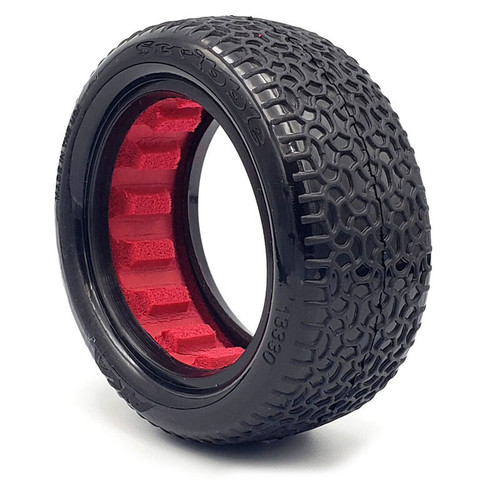 """AKA13330CR -- Scribble 2.2"""" Clay Tires, 4WD Front with Red Insert (2): 1/10 Buggy"""