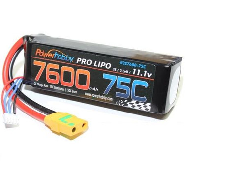 7600mAh 11.1V 3S 75C LiPo Battery with Hardwired XT90 Connector