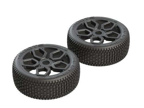 AR550027 -- 1/8 Exabyte NB Buggy Front/Rear 3.8 Pre-Mounted Tires, 17mm Hex (2)