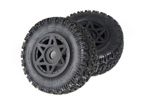 AR550003 dBoots 'sidewinder 2 SC 6S' Tyre Set Glued (Black) (2pcs)