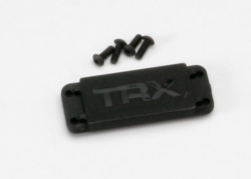 TRA5326X -- Cover plate, steering servo/ 3x8 BCS (4)