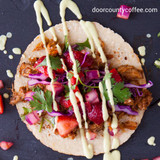 offee Braised Pork Tacos with Strawberry Salsa & Avocado Crema