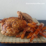 Colombi-Asian Fried Chicken with Kick-in Sweet Potato Fries