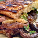 Grilled Cheese Steak Sandwich with Caramelized Coffee Mushrooms & Onions