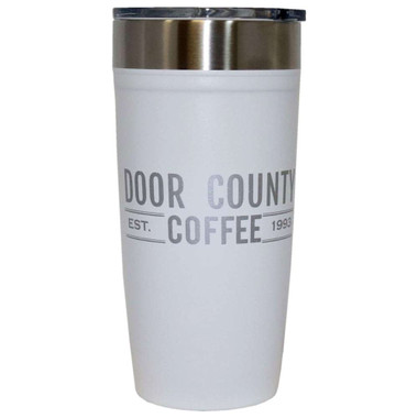 Door County Coffee Arctic Zone 20 oz Tumbler – White