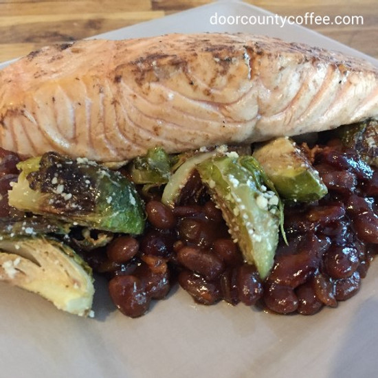 Coffee Baked Beans & Salmon with Roasted Brussels Sprouts