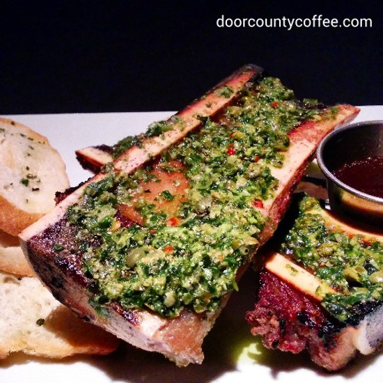 Coffee Crusted Veal Marrow with Bacon Chimichurri