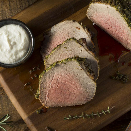 Blackberry Coffee Rubbed Bison Tenderloin with Horseradish Henry Bain Sauce