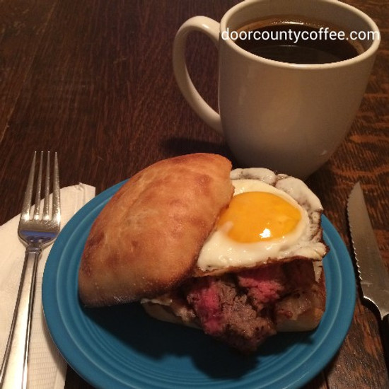 """Door County Coffee Rubbed """"Wake Me Up Steak and Egg Sandwich"""""""