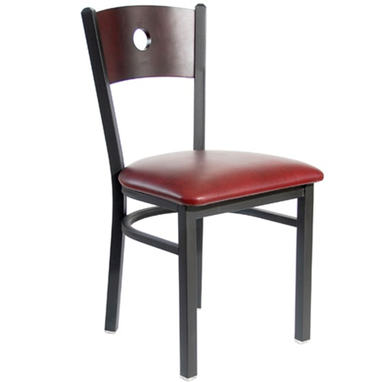 Bfm Seating Darby Black Metal Circle Wood Back Restaurant Chair With Vinyl Seat 2152cblv Sb Bfms