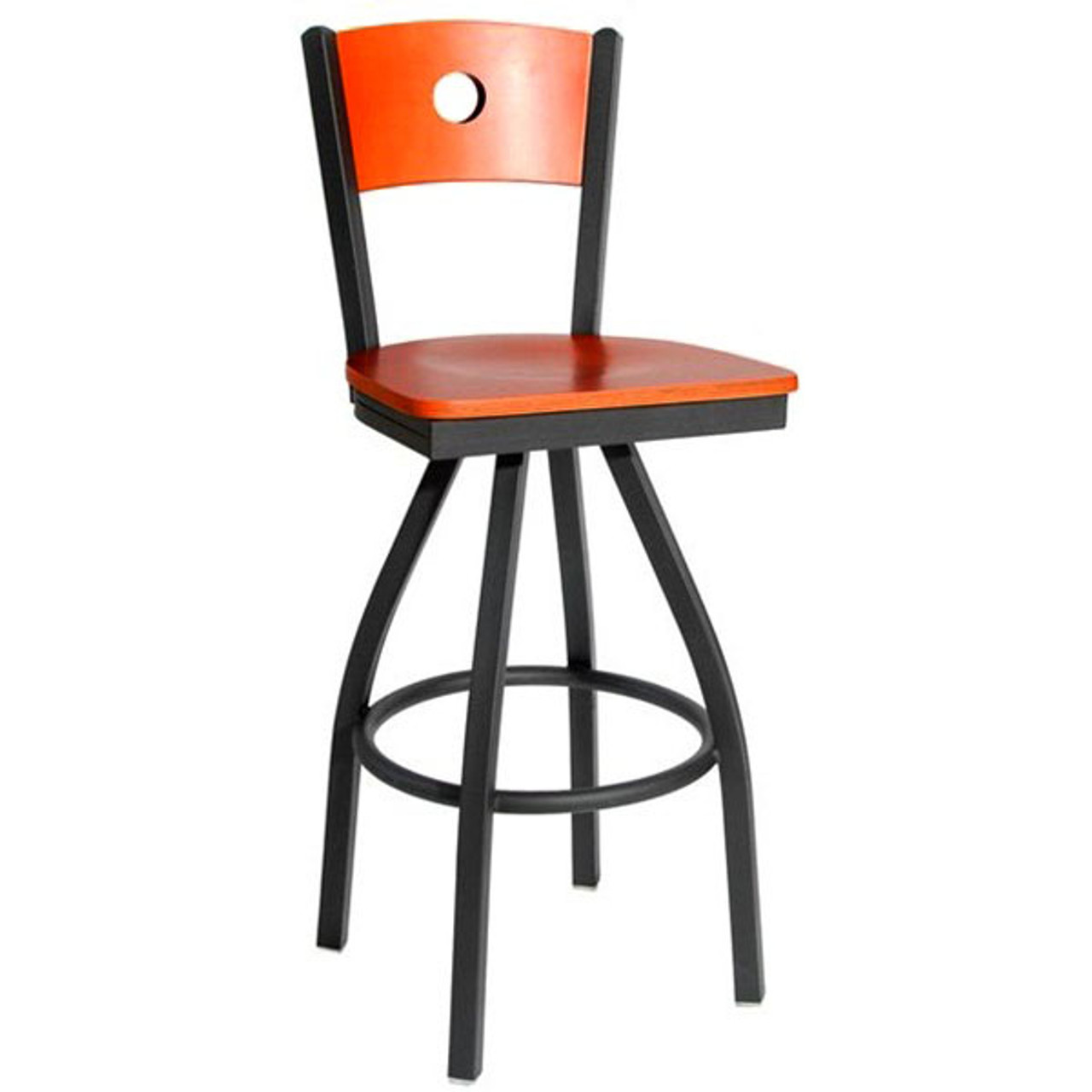 Swell Bfm Seating Darby Metal Circle Wood Back And Seat Restaurant Swivel Bar Stool 2152Sw Sb Bfms Machost Co Dining Chair Design Ideas Machostcouk