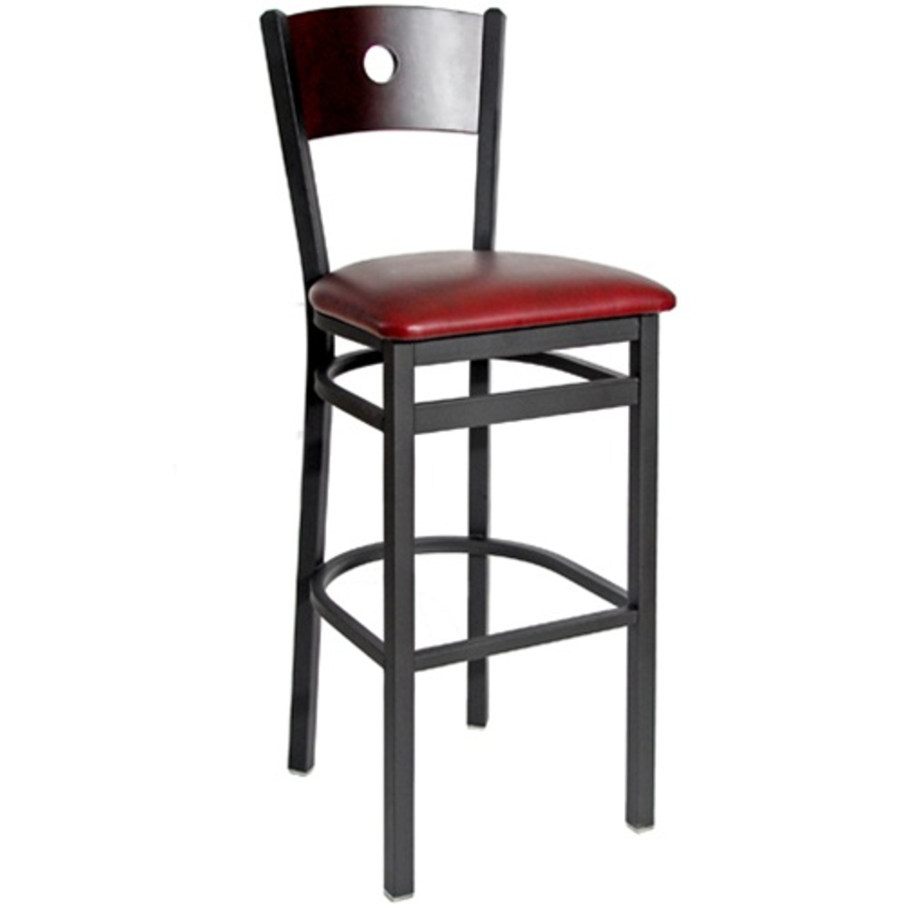 Prime Bfm Seating Darby Black Metal Circle Wood Back Restaurant Bar Stool With Vinyl Seat 2152B Sbv Machost Co Dining Chair Design Ideas Machostcouk