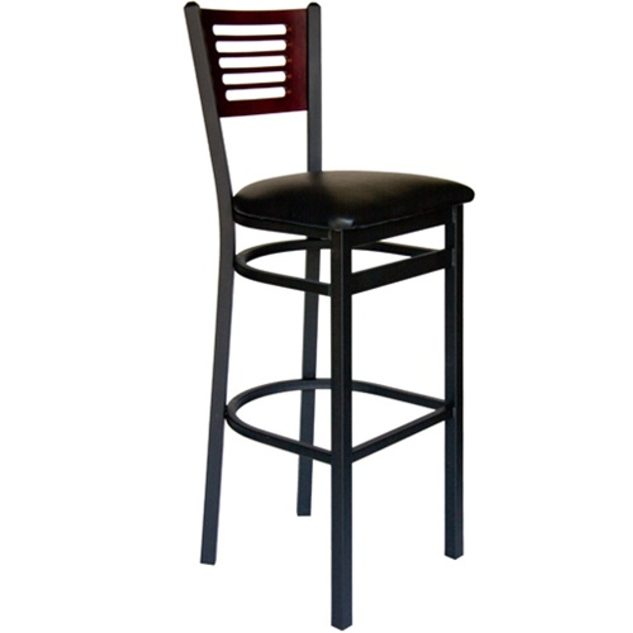 Groovy Bfm Seating Espy Black Metal Slotted Wood Back Restaurant Bar Stool With Vinyl Seat 2151B Sbv Alphanode Cool Chair Designs And Ideas Alphanodeonline
