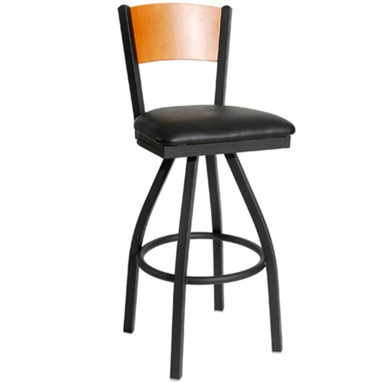Admirable Bfm Seating Dale Solid Wood Back Metal Restaurant Swivel Bar Stool With Vinyl Seat 2150S Sbv Squirreltailoven Fun Painted Chair Ideas Images Squirreltailovenorg