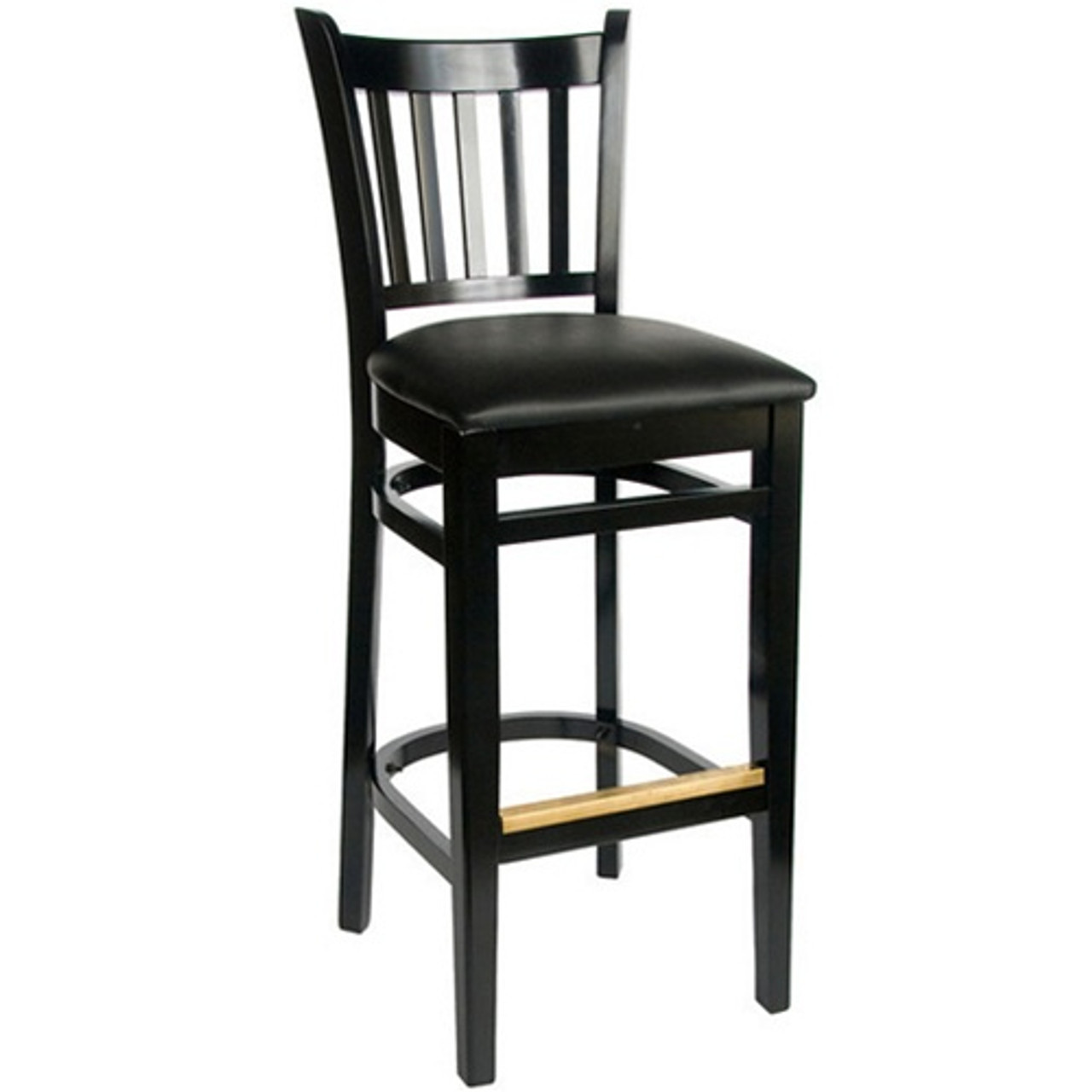 Fine Bfm Seating Delran Black Wood Slat Back Bar Stool With Vinyl Seat Lwb102Blv Customarchery Wood Chair Design Ideas Customarcherynet