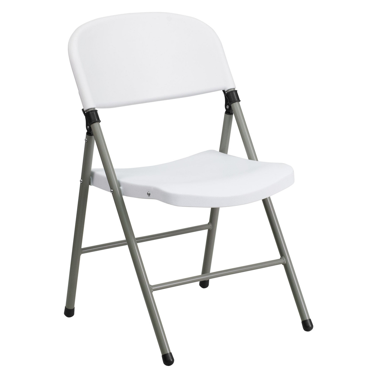 Advantage White Poly Folding Chair Oversized With Gray Frame Dad Ycd 70 Wh Gg