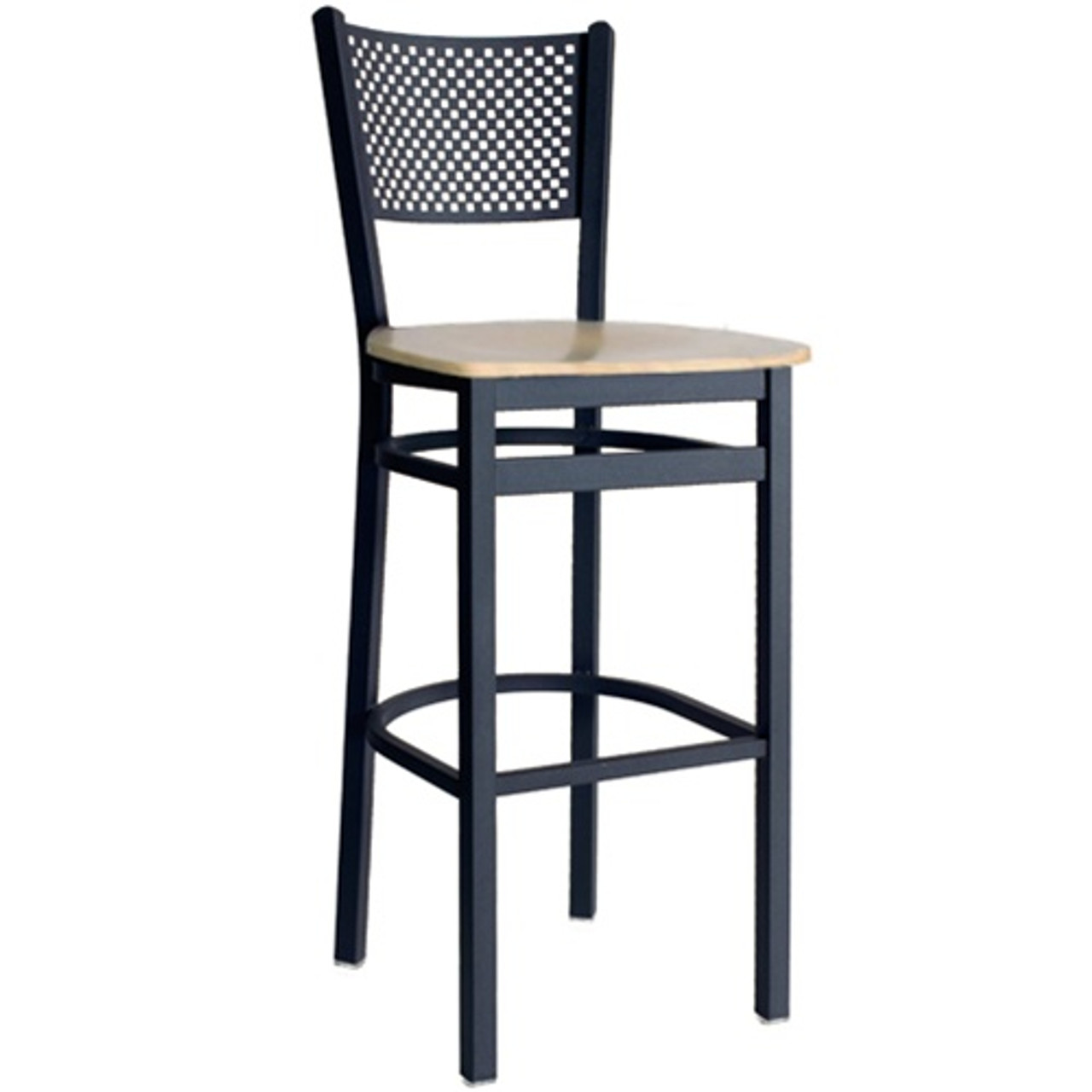 Marvelous Bfm Seating Polk Black Metal Perforated Back Restaurant Bar Stools 2161B Sbw Alphanode Cool Chair Designs And Ideas Alphanodeonline