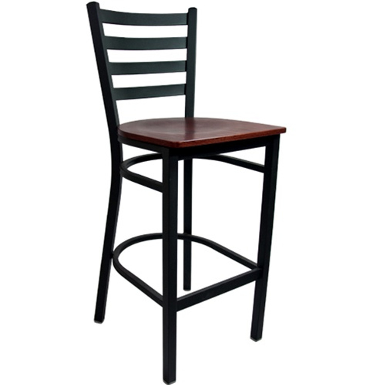 Tremendous Advantage Ladder Back Metal Bar Stool Mahogany Wood Seat Bslb Bfmw Uwap Interior Chair Design Uwaporg