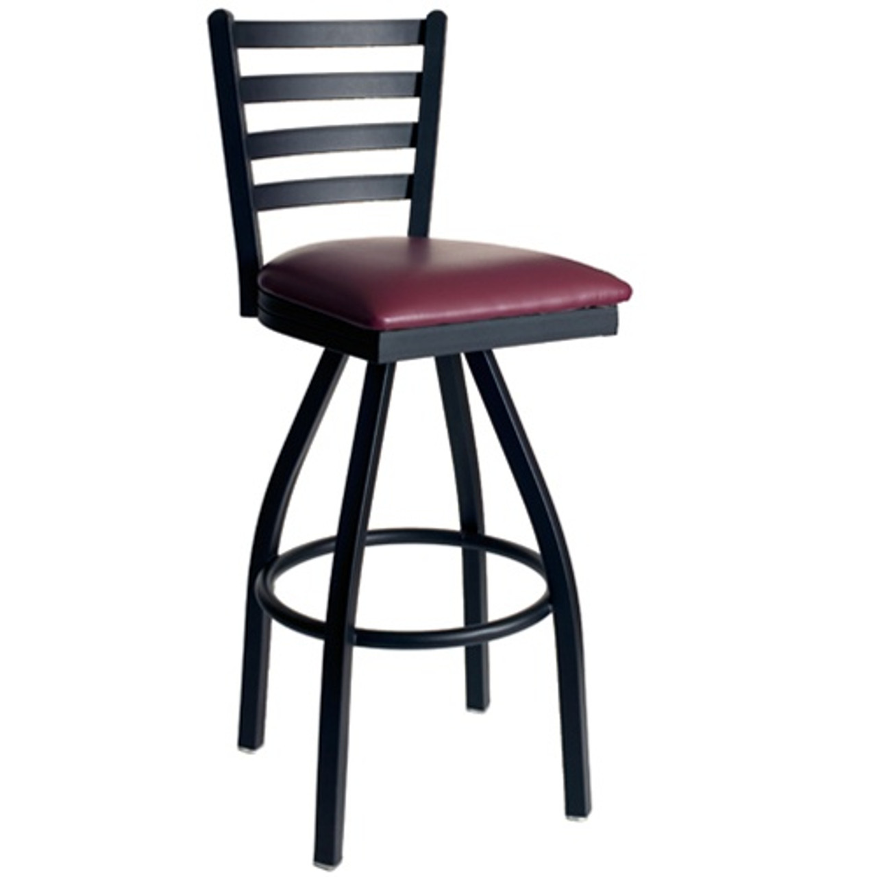 Picture of: Bfm Seating Lima Metal Ladder Back Restaurant Swivel Bar Stool With Padded Seat 2160s Sbv Pub Bar Stools Commercial Bar Stools