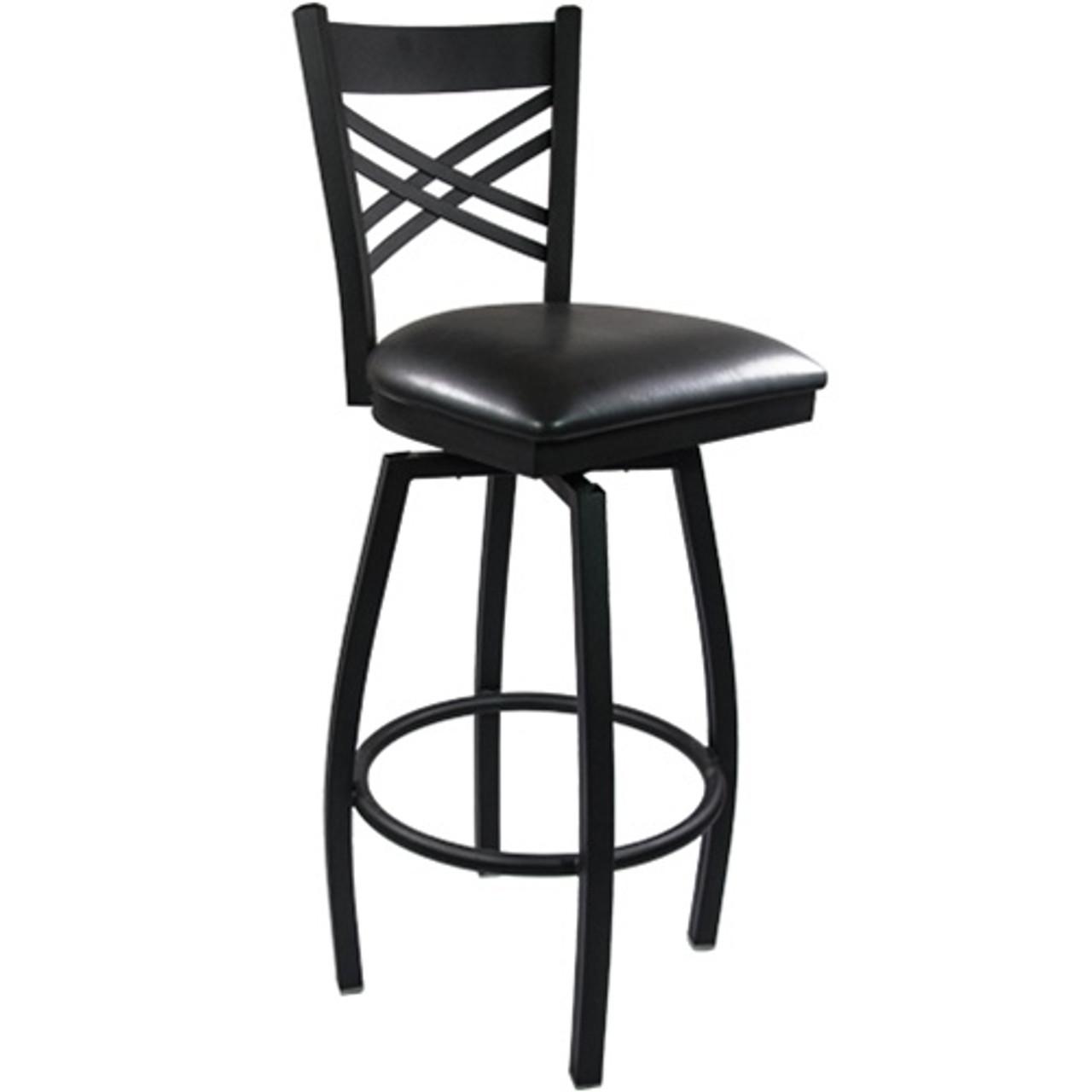 Fine Advantage Cross Back Metal Swivel Bar Stool Black Padded Bfdh 706688X Bk Bar Tdr Machost Co Dining Chair Design Ideas Machostcouk