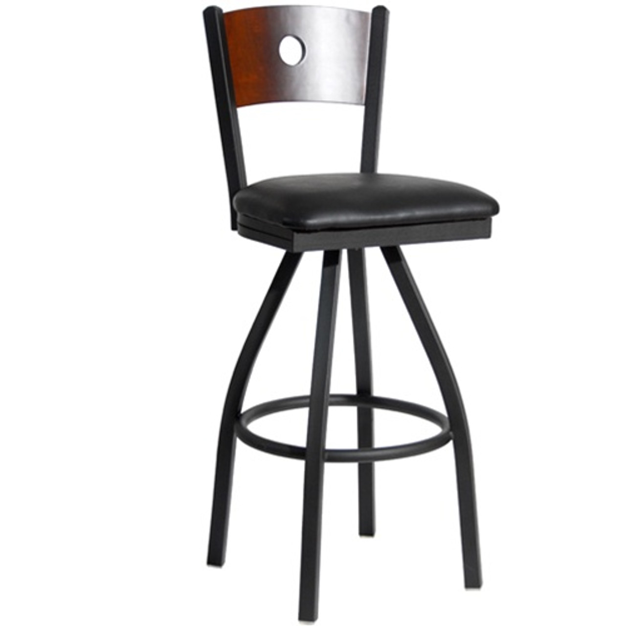 Bfm Seating Darby Black Metal Circle Wood Back Restaurant Swivel Bar Stool With Padded Seat 2152s Sbv Pub Bar Stools Commercial Bar Stools