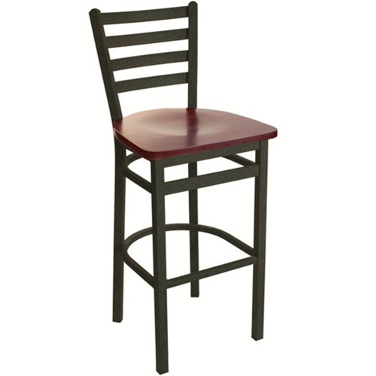 Admirable Bfm Seating Lima Black Metal Ladder Back Restaurant Bar Stool With Wood Seat 2160B Sbw Forskolin Free Trial Chair Design Images Forskolin Free Trialorg