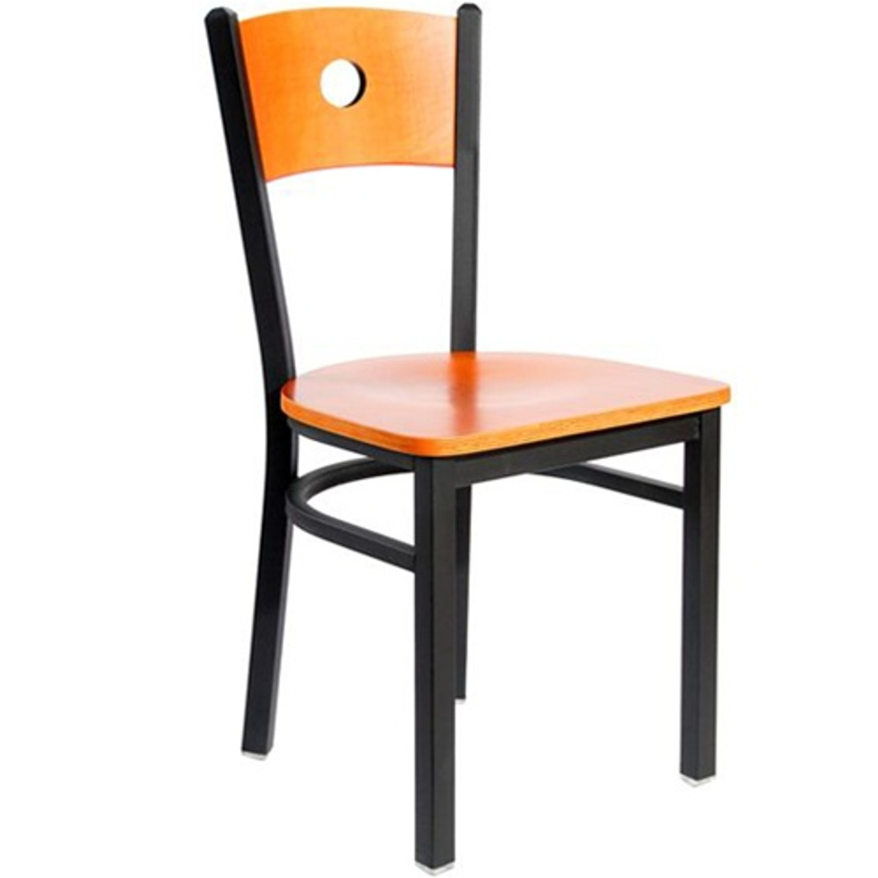 Bfm Seating Darby Black Metal Circle Wood Back Restaurant Chair With Wood Seat 2152c Sbw