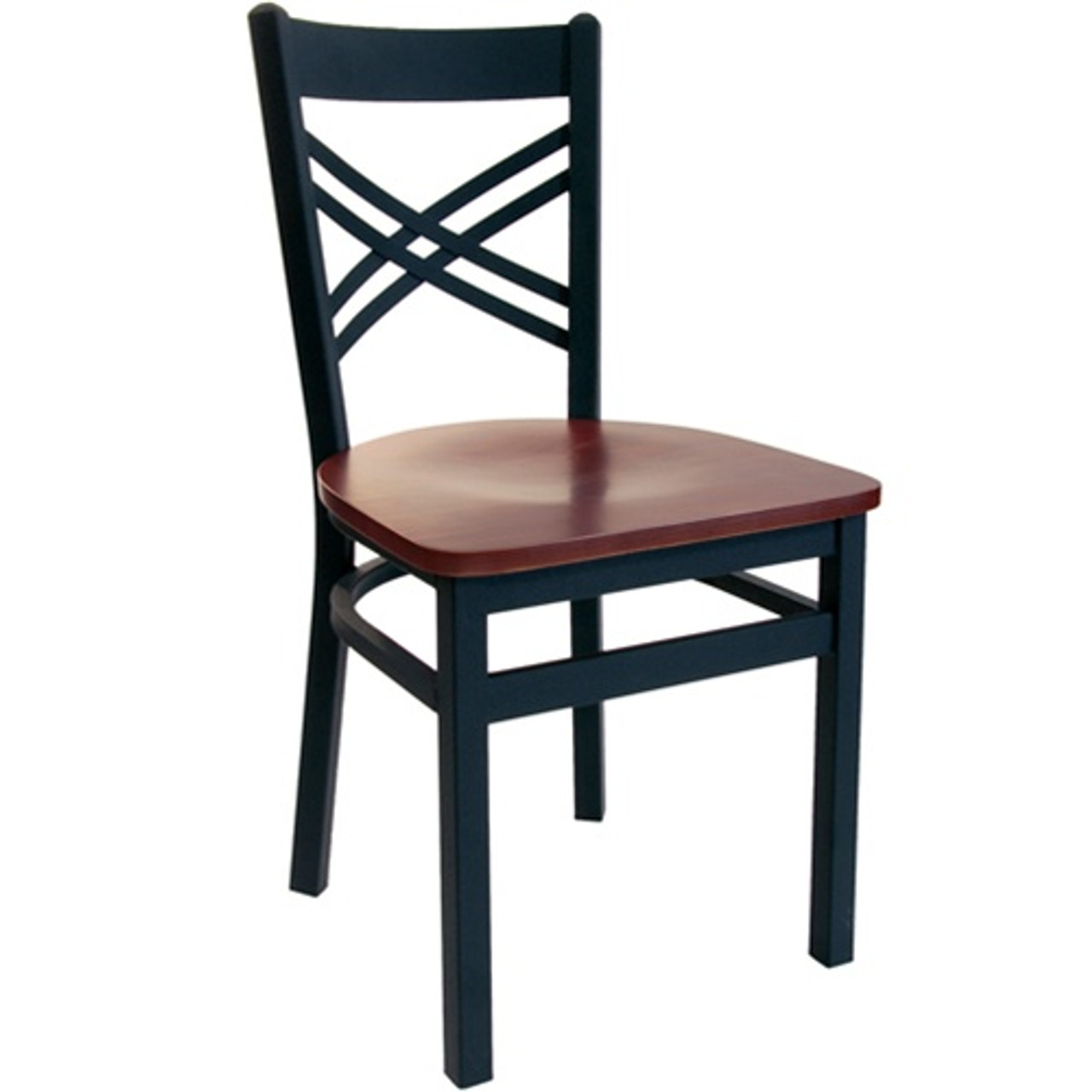 Bfm Seating Akrin Black Metal Cross Back Restaurant Chair With Wood Seat 2130c Sbw