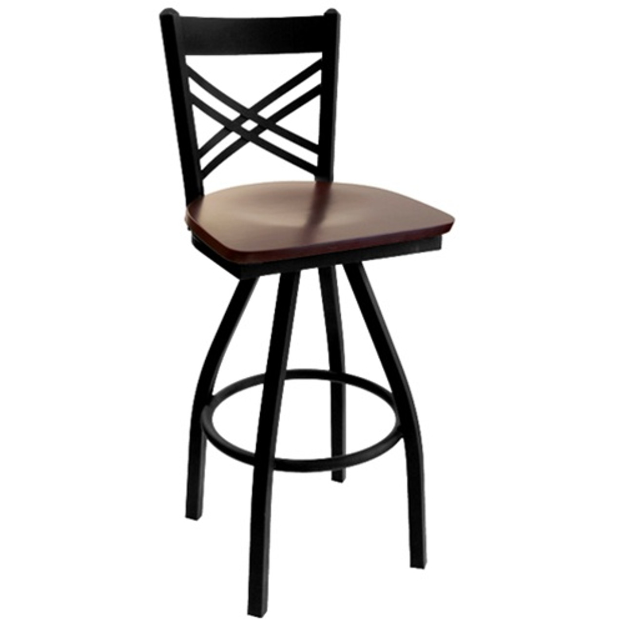 Stupendous Bfm Seating Akrin Black Metal Cross Back Restaurant Swivel Bar Stool With Wood Seat 2130S Sbw Alphanode Cool Chair Designs And Ideas Alphanodeonline