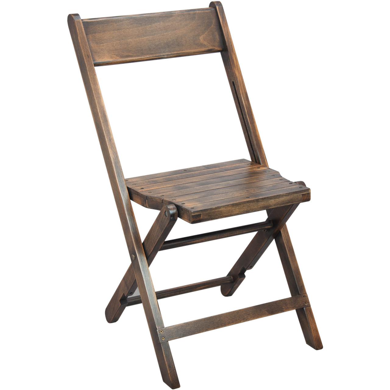 Advantage Slatted Wood Folding Wedding Chair Antique Black Wfc Slat Ab