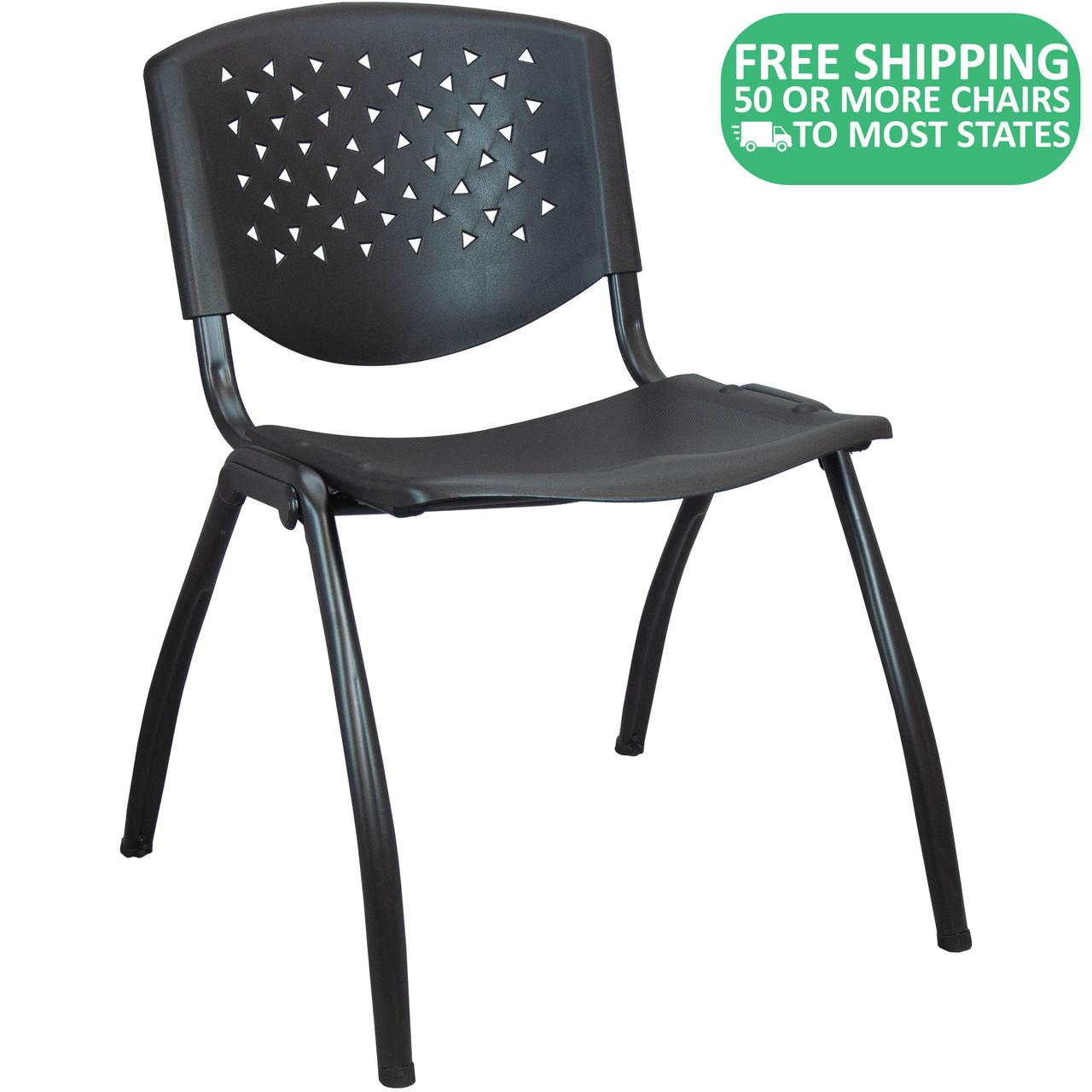 Advantage Black Plastic Stack Chair Vented Back Adv Sc Vent