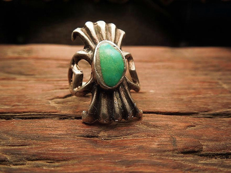 SOLD! 1950's Navajo Tufa Sand Cast ring. Getting to be a Lost art! for man or woman Sterling Silver and Turquosie size 7, 7.5