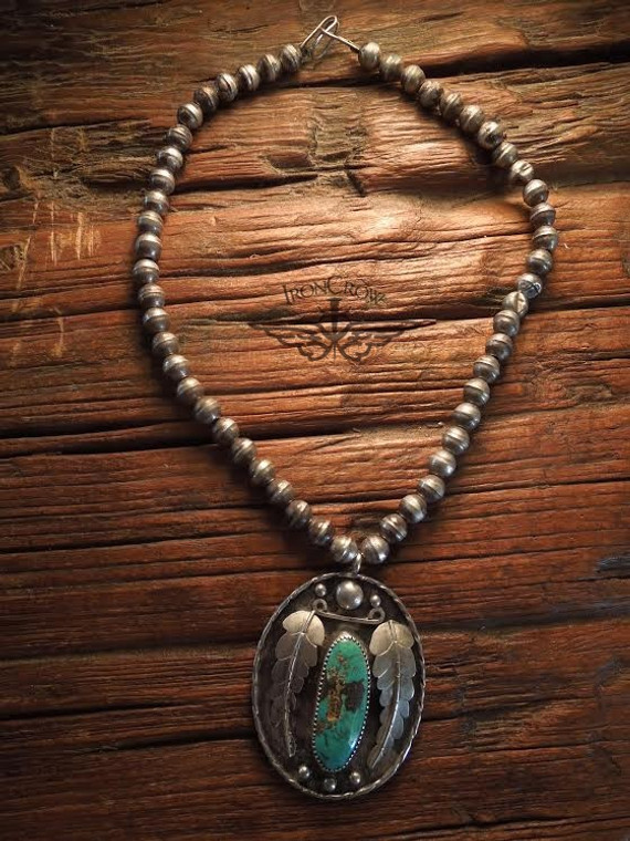 Sold! Stunning! 1920's Navajo large Sterling Silver and turquoise pendant with Silver beads also known as Navajo Pearls