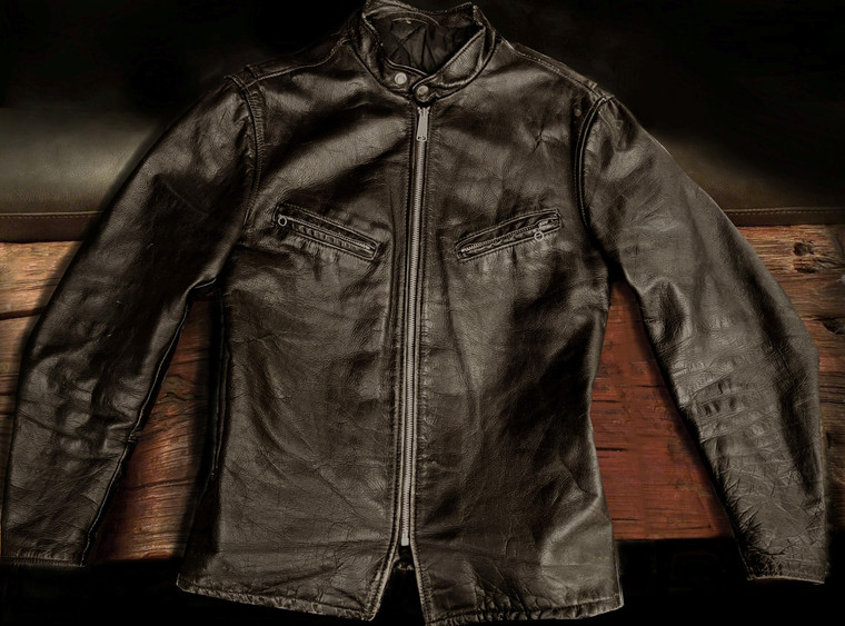 The Coolest 1960's Talon zippered Steerhide Leather Cafe' Racer jacket,  U.S. made size 40 free shipping!