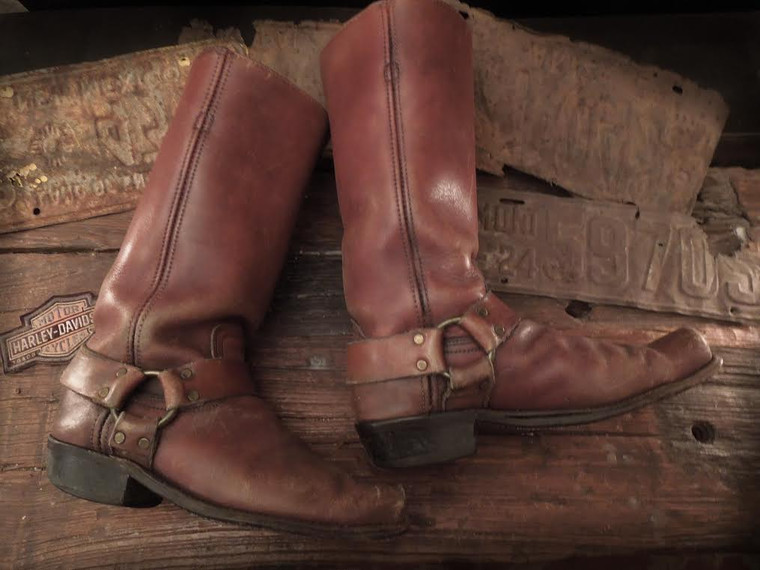 SOLD! An Awesome and Rare! pair of 1960's Frye Leather harness, biker, mod boots  size 9- 91/2 D