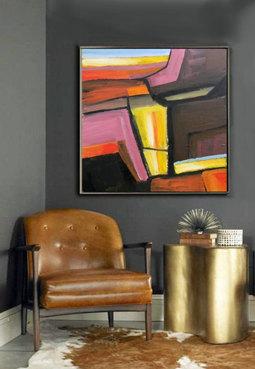"In The Spirit of Richard Diebenkorn  An ""Original Painting""  Color Canyon 36""x 36"" by Matt Dougan with  free shipping Anywhere!"