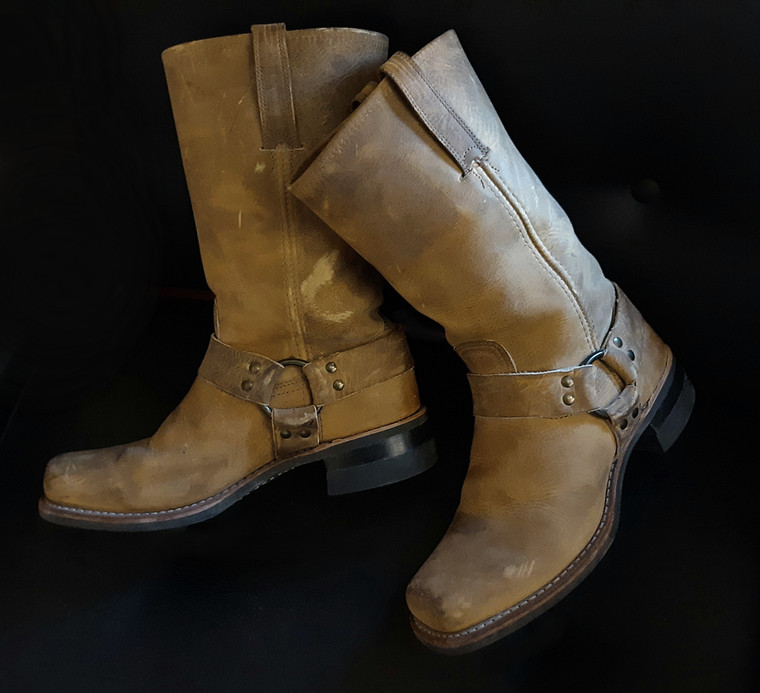 Sold!  Very cool! Vintage Leather Frye harness Boots size 11 U.S , 44.5 EU, 10 UK